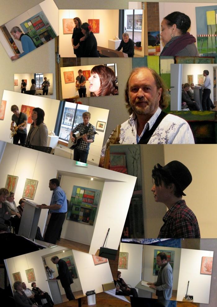 Een collage van de optredende dichters en muzikanten tijdens de 6de LiteRAR en Muziek op 22 oktober 2012 in Galerie RAR, Spijkenisse