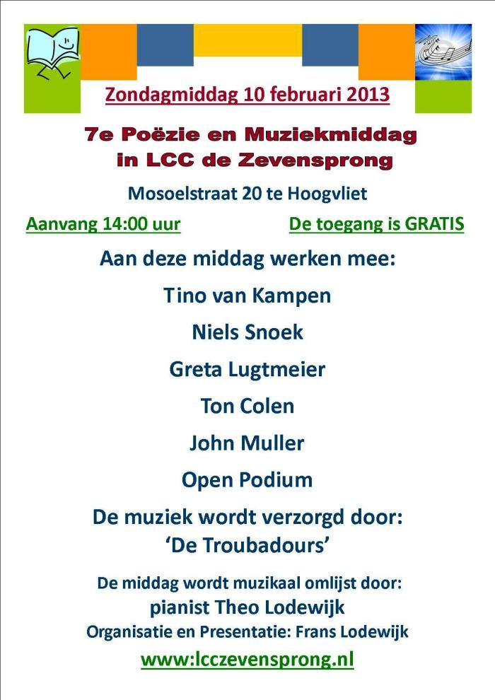 7e Poëzie en Muziekmiddag in LCC de Zevensprong 10-2-2013
