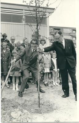 Godfried Bomans bij het planten van een boom in Spijkenisse 1967