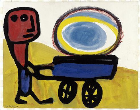 Karel Appel, Mannetje met de zon, 1947, collectie Stedelijk Museum Schiedam, foto Bob Goedewaagen, copyright Karel Appel Foundation, c.o Pictoright Amsterdam