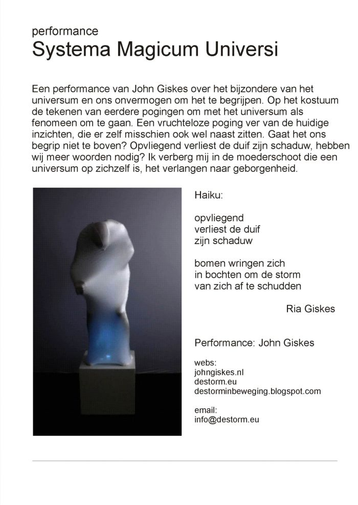 Op zaterdag 20 april 2013 werd  de tentoonstelling van Jan Bakker, Rinus Groenendaal, Nancy Kroon, Rob den Boer en Marja Steinmetz geopend in de RAR-galerie in Spijkenisse.   John Giskes tekende voor de performance.