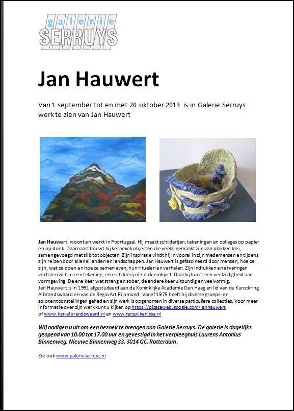 Aankondiging Jan Hauwert RAR leden tentoonstelling