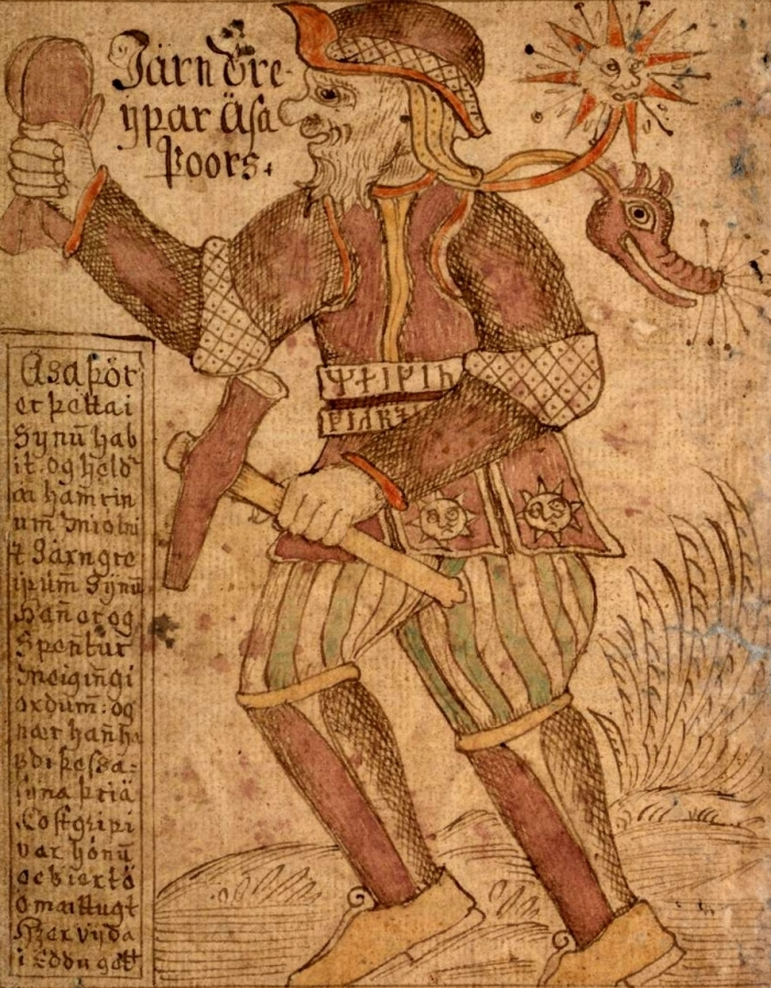 De dondergod Thor op een IJslandse afbeelding uit de 18de eeuw