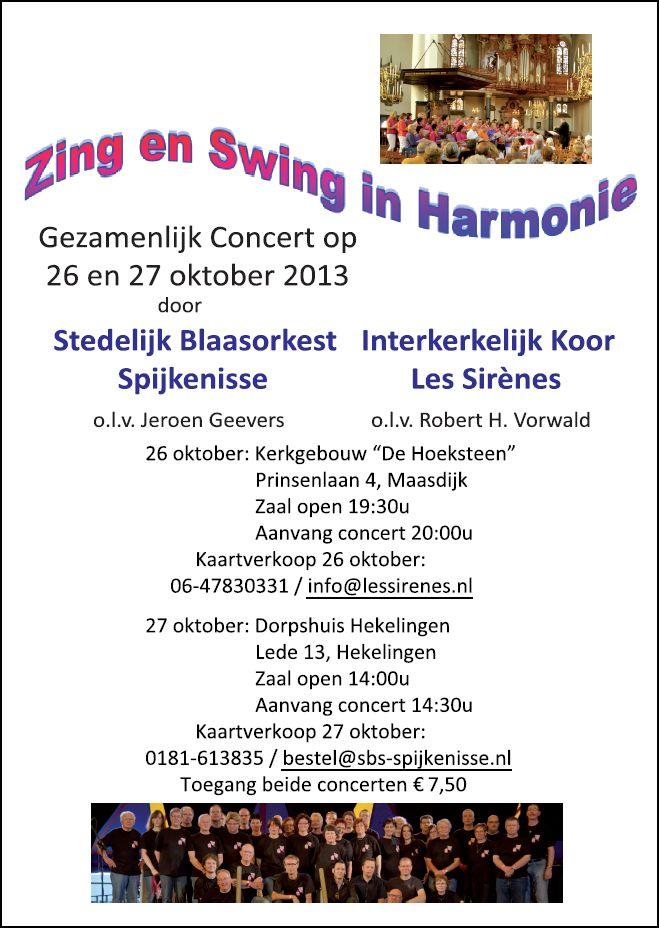 Zing en swing in harmonie 26 en 27 okt. 2013