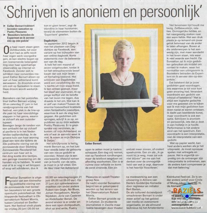 Esther Bernart in krantenartikel
