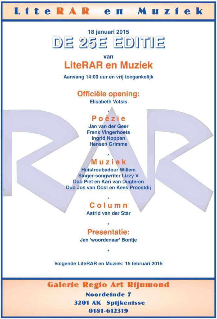 Flyer van de 25ste LiteRAR en Muziek. 18 januari 2015