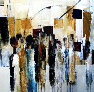 Jan Bakker in-het-museum-acryl-op-doek-100-x-100-cm-2004