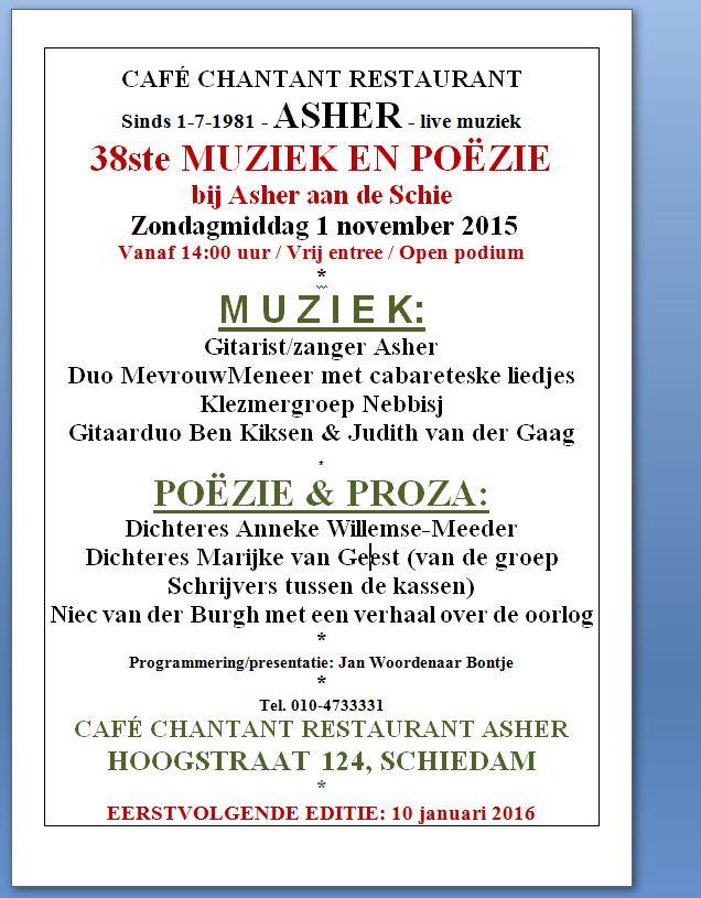 Flyer MUZIEK EN POËZIE 38 - 1 november 2015